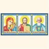 Складень: Богоматерь Казанская, Господь Вседержитель, Св. Сергий Радонежский